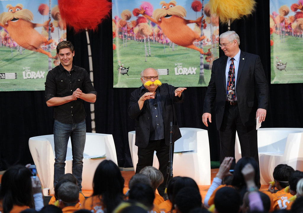 The kids in the audience clapped for The Lorax stars Zac Efron and Danny DeVito.