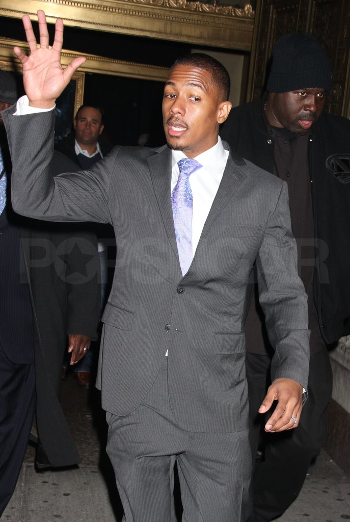 Nick Cannon waved to fans.