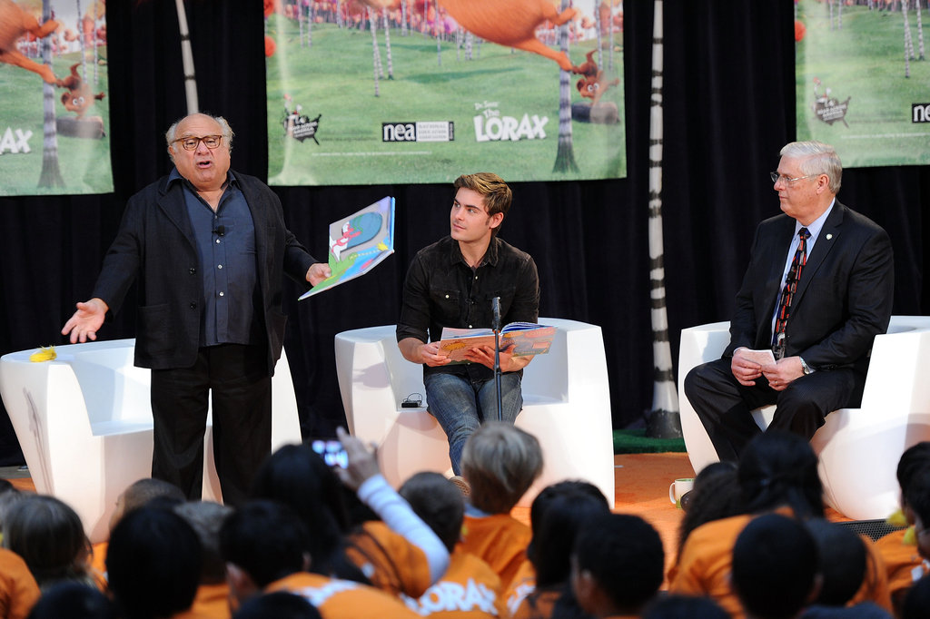 Danny DeVito stood to read his part in The Lorax.