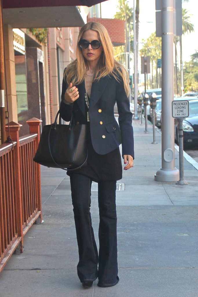 Rachel Zoe toted a handbag by The Row.