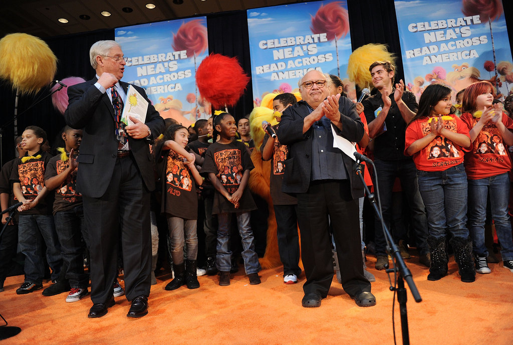 Danny DeVito and Zac Efron participated in the NEA's Read Across America Day kickoff event in NYC.