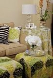 Updating a tired/old couch: Chartreuse green prints and zebra hide pillow - such texture and fun!