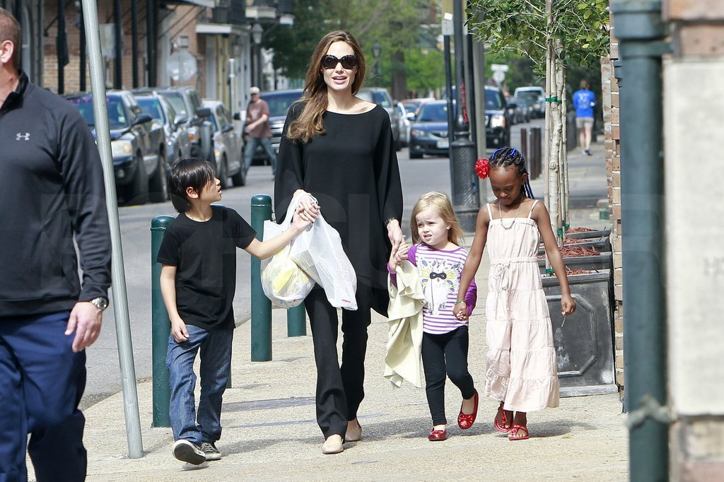 Angelina Jolie Takes a Sunday Stroll in NOLA With Pax, Zahara, and Vivienne