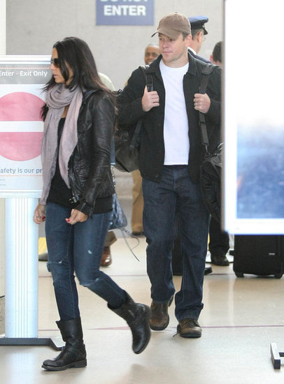 Matt Damon and Luciana Damon walked through LAX.