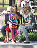 Heidi Klum watched Leni Samuel and her other children play.