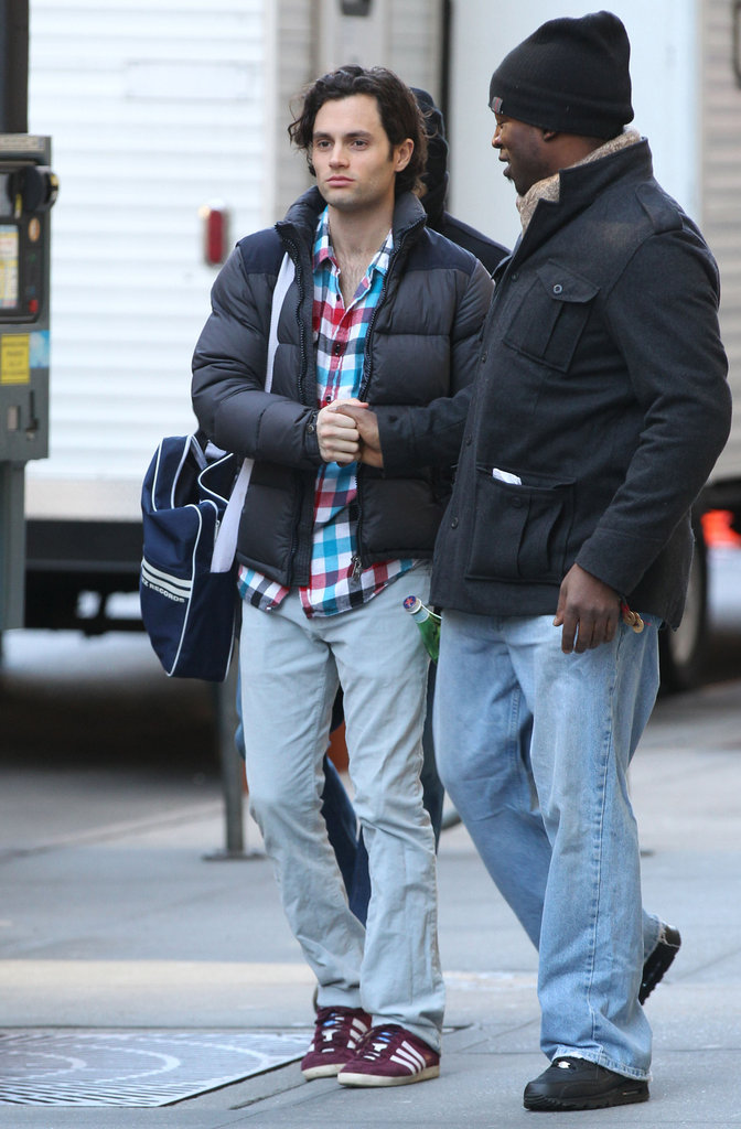 Penn Badgley on the set of Gossip Girl in NYC.