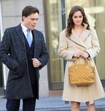 Ed Westwick and Leighton Meester film Gossip Girl in NYC.