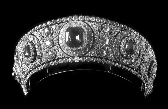The sapphire in the center of this tiara weighs 137 carats and is set against round diamonds. Grand Duchess Vladimir (Maria Pavlovna) ordered it in 1909. Photo courtesy of Cartier Archives