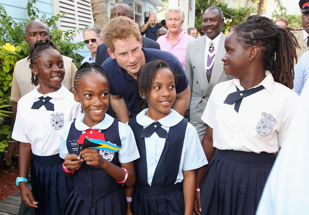Prince Harry was adorable with some young girls in the Bahamas.