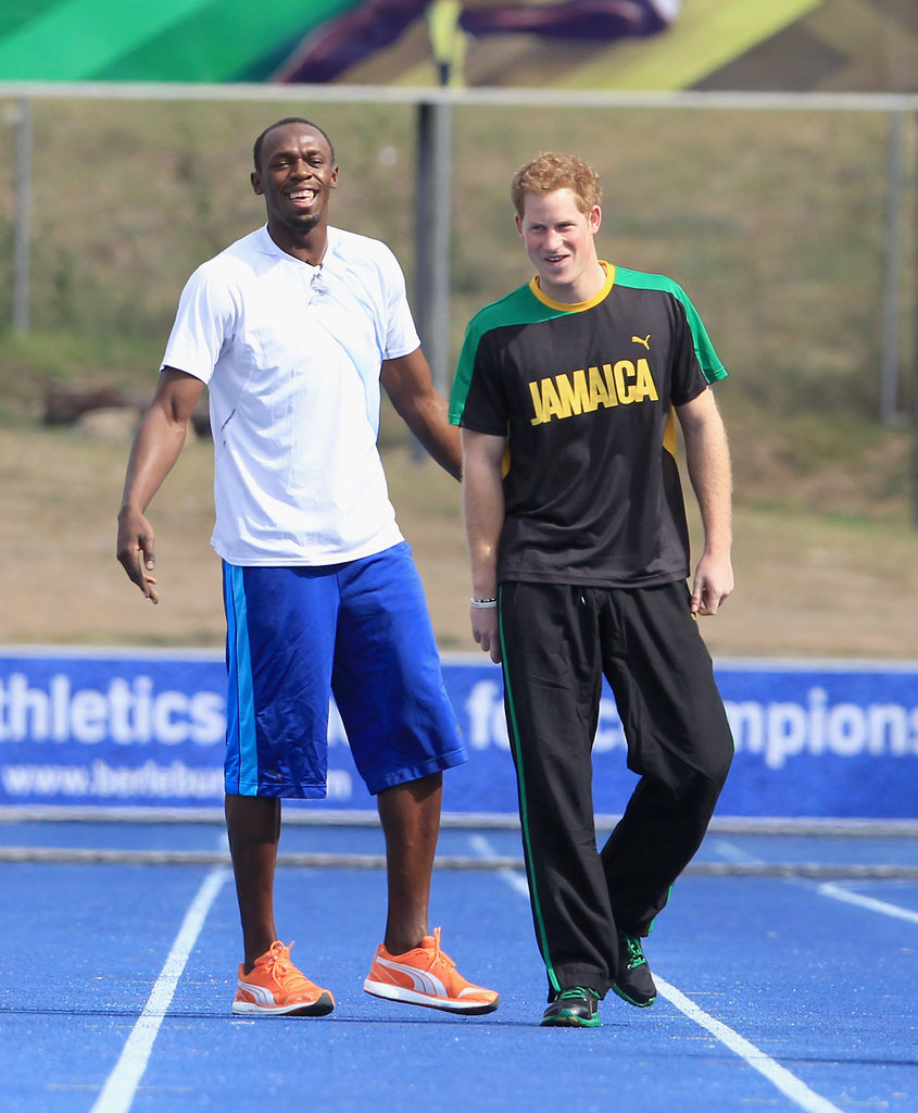 Prince Harry racing against Usain Bolt.