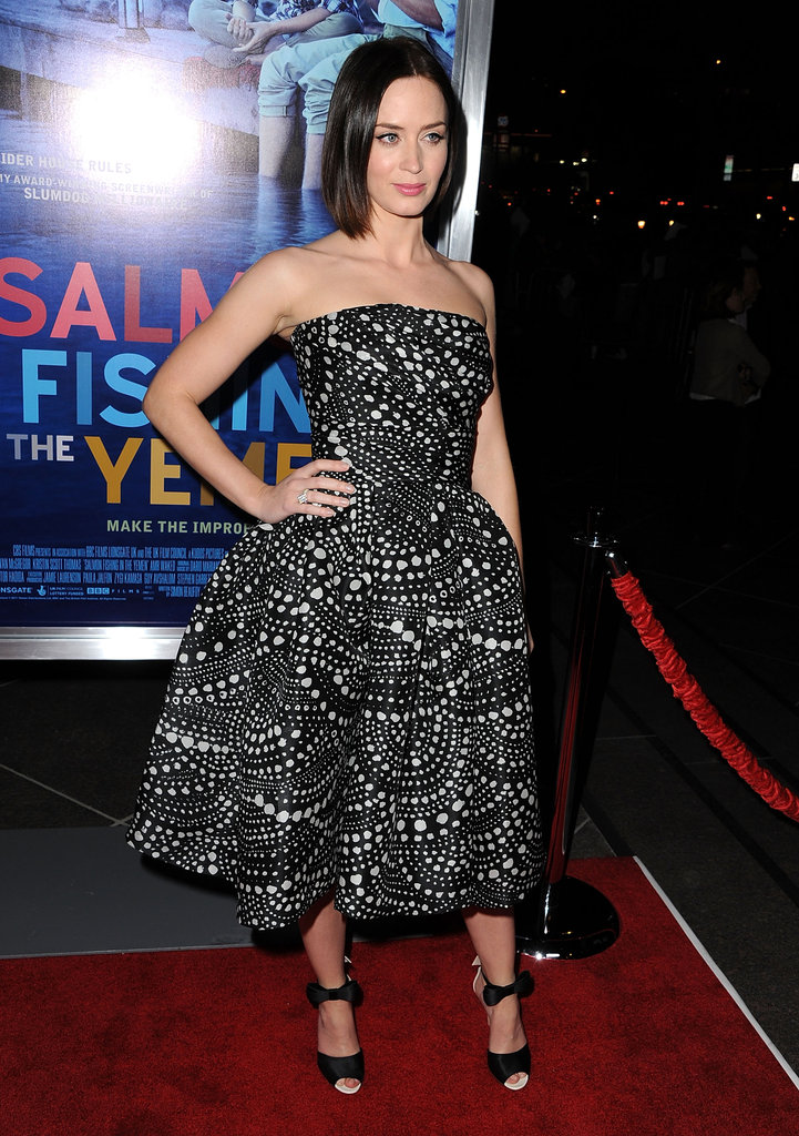 Emily Blunt posed in her Naeem Khan dress.