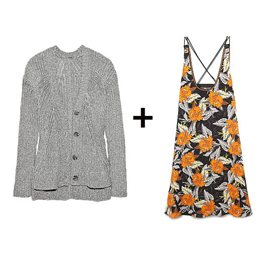 Add a chunky-knit cardigan to temper brilliant florals for a style that straddles the line between the Winter and Spring.  Vince Chunky-Knit Cotton-Blend Cardigan ($97, originally $275), Proenza Schouler Cross-Back A-Line Dress ($880)