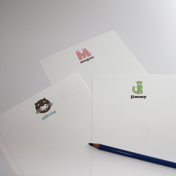 "These children's initial monogram notes ($20 for 30 sheets) offers kids plenty of room to write (or scribble) their special message. They'll love the animal ""initial"" dictated by the first letter of their name at the top of each sheet of stationery."