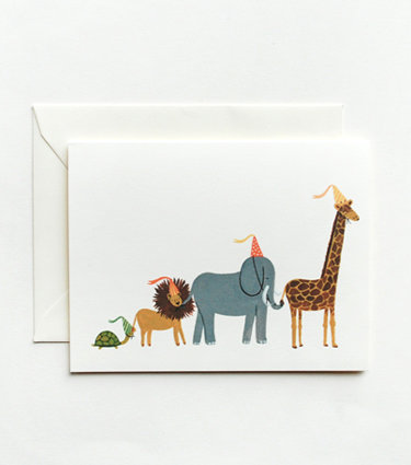 "A sweet way to say ""thank you"" after a big birthday, Rifle Paper Co.'s  animal parade cards ($18 for a box of eight) feature whimsical designs by the incredibly talented Anna Bond."