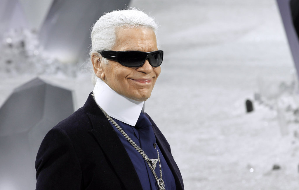 Karl Lagerfeld came out after the Chanel show.