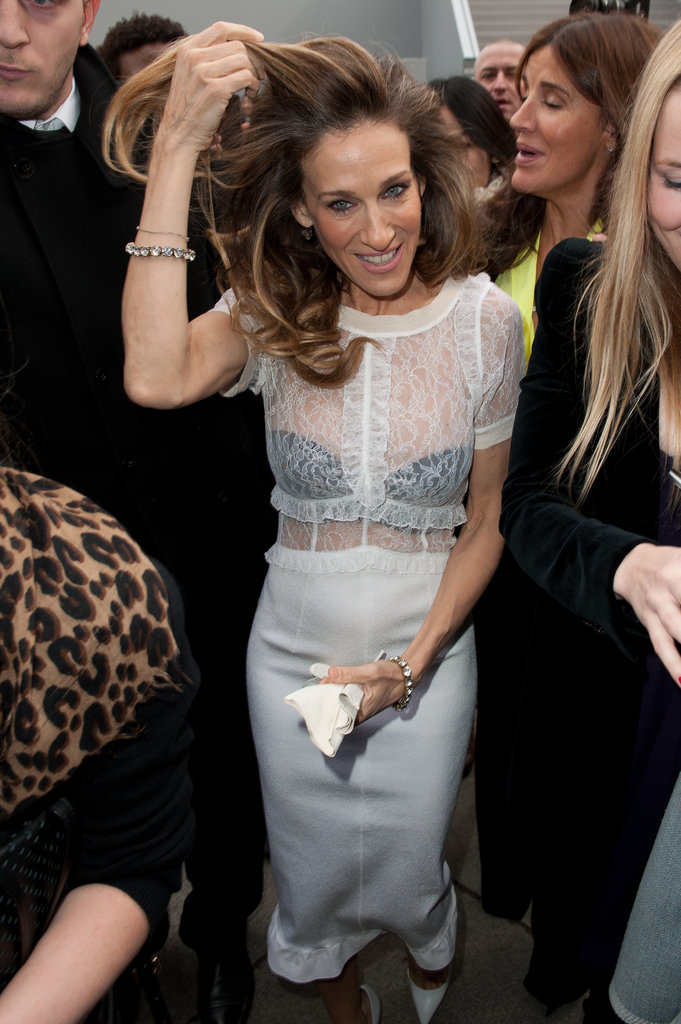 Sarah Jessica Parker was sheer at Louis Vuitton.