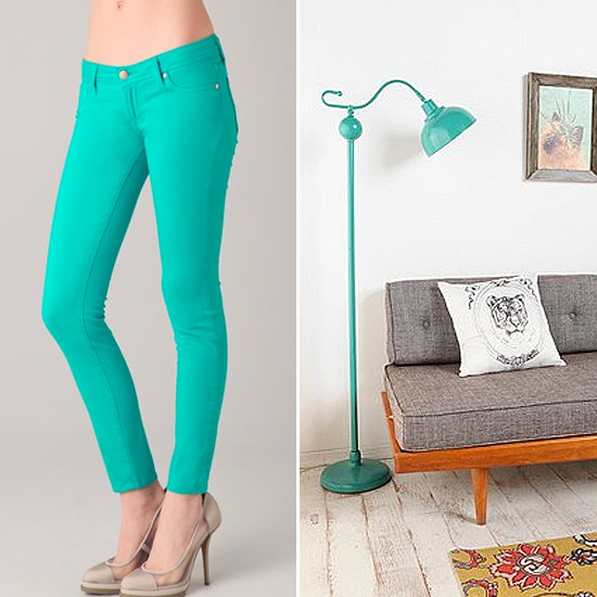 These skintight Shane Cigarette Jeans ($176) will make passersby take notice, thanks to their shape and bright teal shade. Similarly, this Vintage Floor Lamp ($120) has an arresting shade that will make it a standout accent in a living room or bedroom.