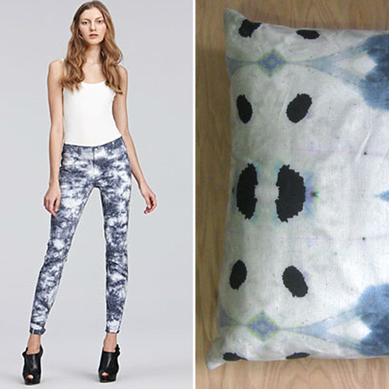 An update on the hippie aesthetic, these J Brand Tie-Dye Skinny Jeans ($198) rock a handmade look. Similarly, designer Shannon Campanaro's Eskayel Galileo Glass Pillow ($108) updates that tie-dyed look for the 21st century.