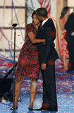 Michelle gave Barack a sweet hug at the Democratic National Convention.