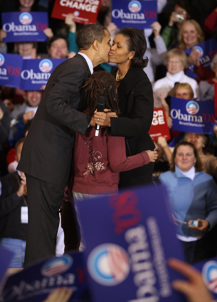 Then Senator Barack Obama got a hug and kiss from Michelle at a rally in Iowa.