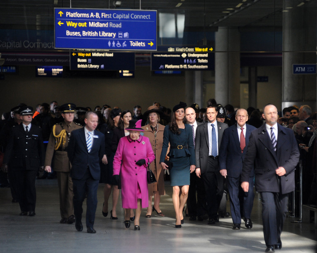 Kate Middleton, Queen Elizabeth, and Prince Philip boarded a train.