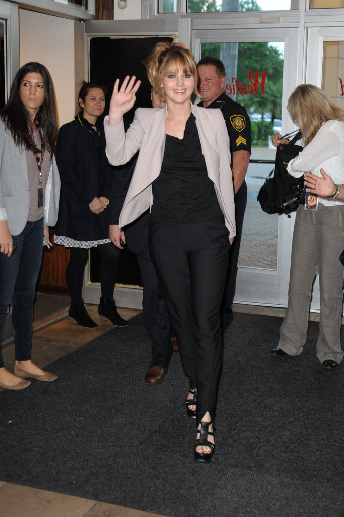 Jennifer Lawrence greeted fans with a wave.