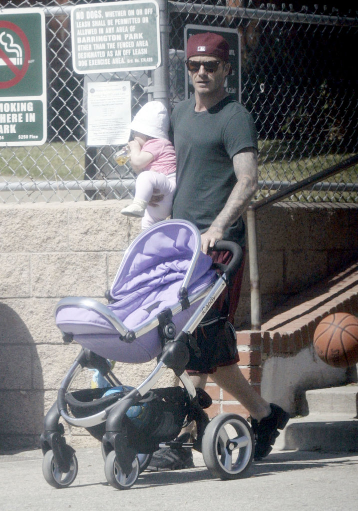 David Beckham was with daughter Harper Beckham.