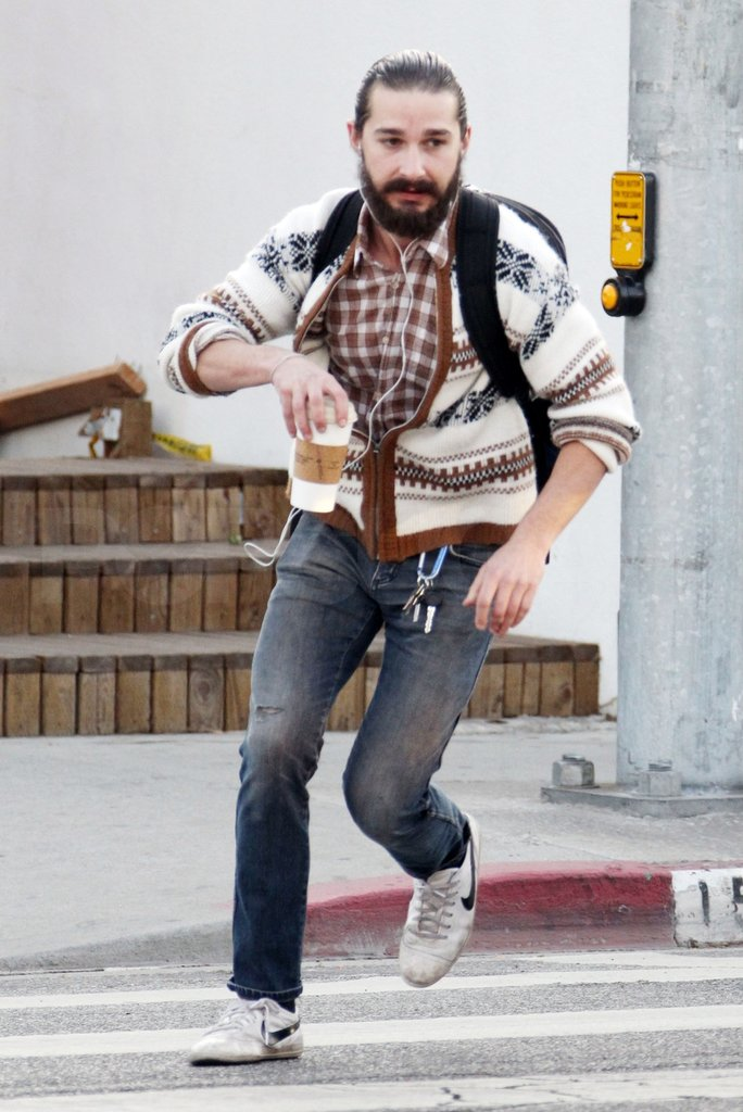 Shia LaBeouf ran from a coffee shop.