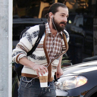 Shia LaBeouf Ponytail and Beard Pictures