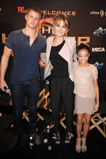 Jennifer Lawrence, Amandla Stenberg, and Alexander Ludwig posed for a photo.