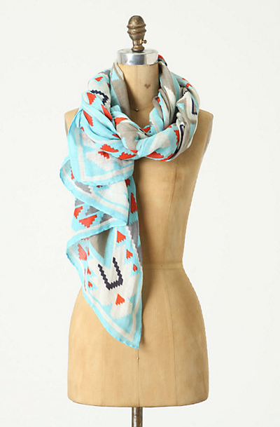 A look is not complete without a lightweight printed scarf. It'll instantly add zest to a plain white tee or Summer dress.  Theodora & Callum Other Sands Scarf ($175)