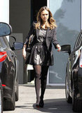 Jessica Alba opted for Dolce & Gabbana's leather and lace.