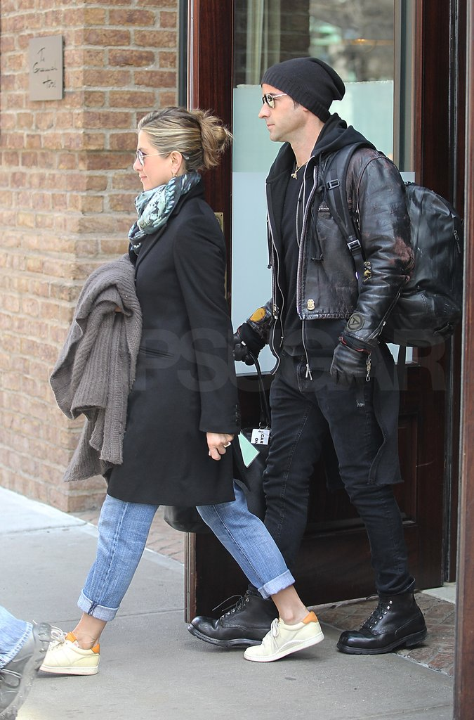 Jennifer Aniston with Justin Theroux in NYC.