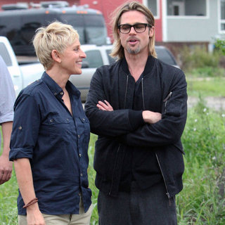 Brad Pitt Pictures in New Orleans With Ellen DeGeneres
