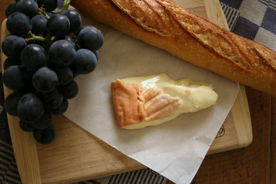 Cheese Plate With Blue Grapes