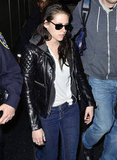 Kristen Stewart in a leather jacket at JFK.