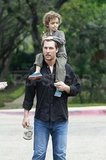 Matthew McConaughey leaves church with Levi.