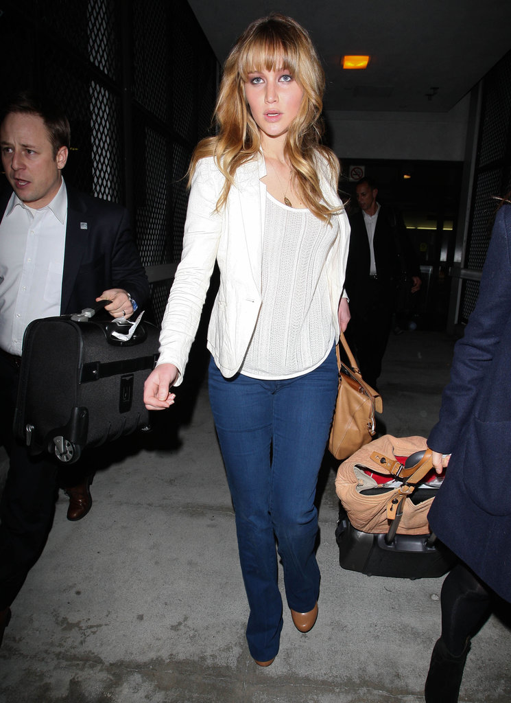 Jennifer Lawrence looked polished in a blazer and jeans.