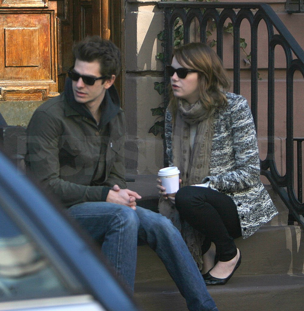 Emma Stone and Andrew Garfield hung out on a stoop.