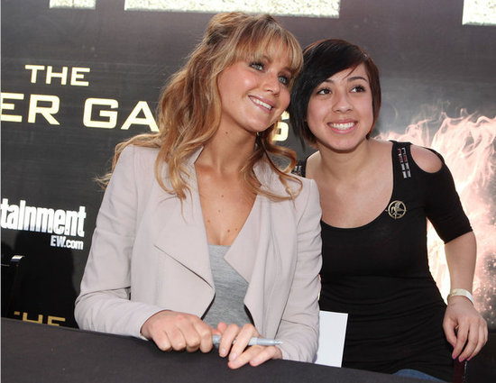 Jennifer Lawrence posed for fan photos.