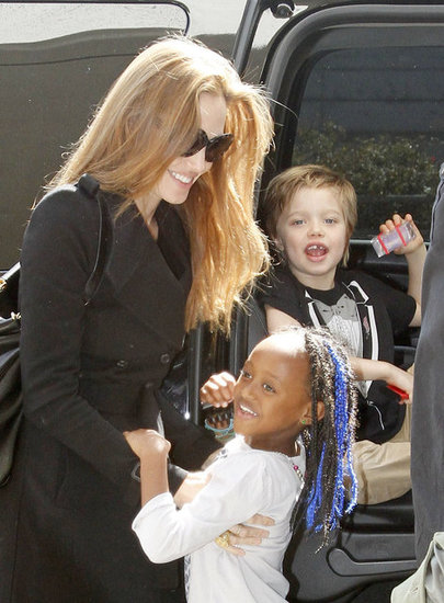 Angelina Jolie with Shiloh and Zahara at LAX.