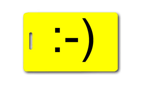 Emoticon Smiley Face Luggage Tag ($7)