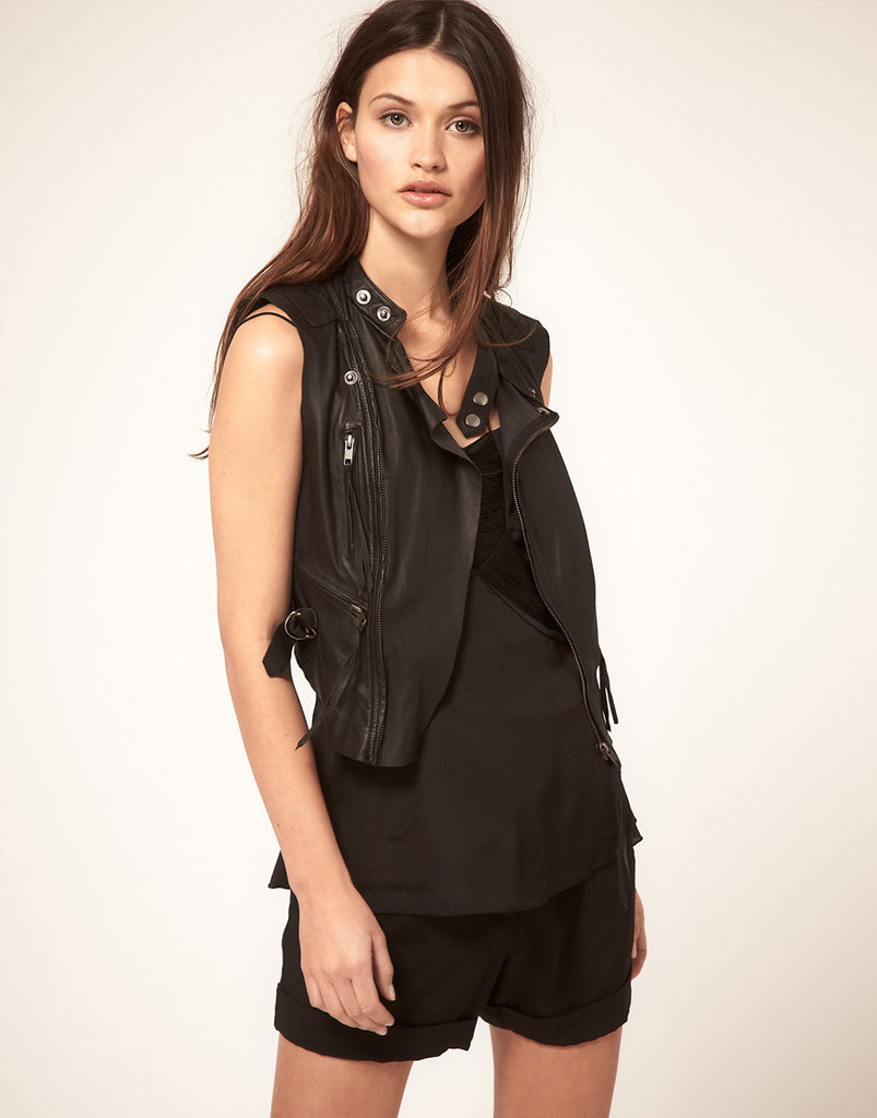 We love the thought of throwing on this tougher style with our floral-print jeans.  Vero Moda Very Leather Biker Vest ($251)