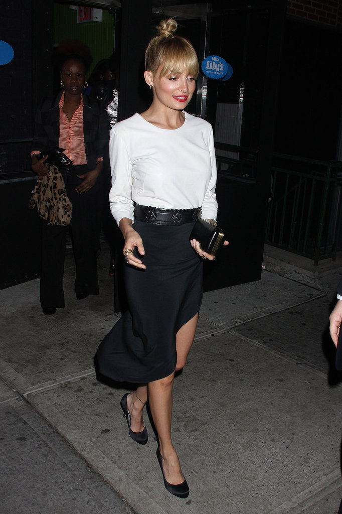 Nicole Richie wearing black and white.