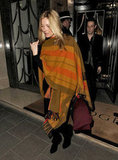 Kate Moss steps out of Claridge's hotel in London.