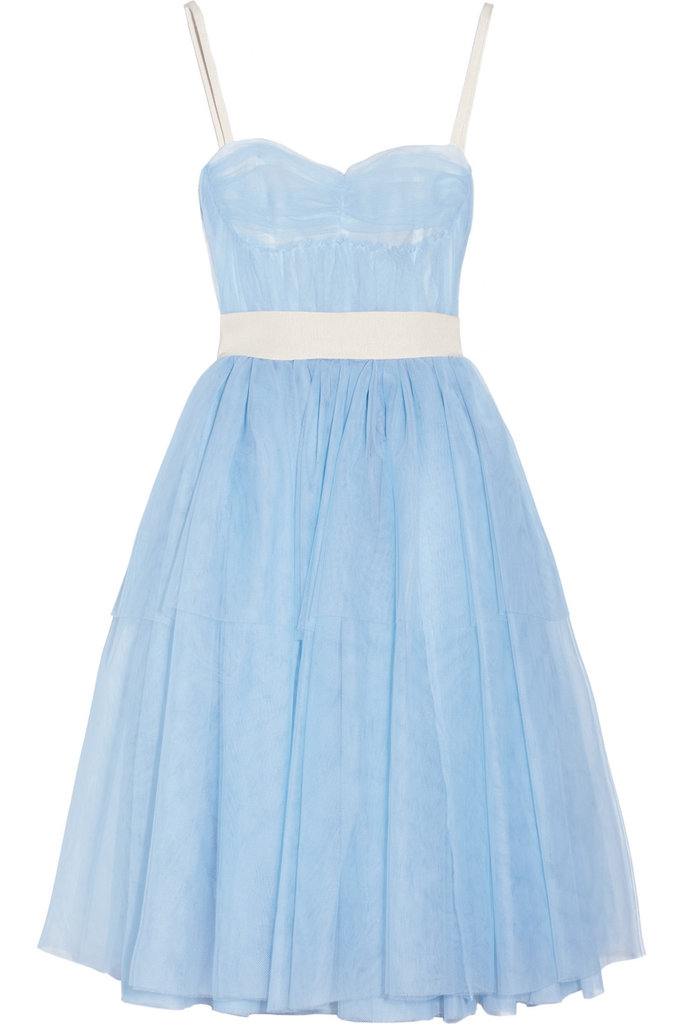 This magical ice blue tulle gown is perfect for a Summer wedding; as for a guest or a bride.  D&G Layered Tulle Dress ($1,595)