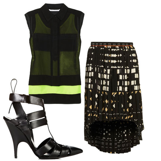 Add a modern touch to an Aztec dip-hem skirt with a neon-infused top and tough sandals.  Diane von Furstenberg Lensley Top ($275), Topshop Aztec Dip Hem Skirt ($76), Alexander Wang Danica Sandals ($595)