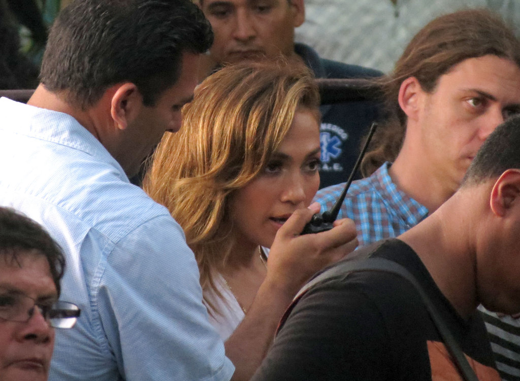 Jennifer Lopez talked to the crew on a walkie-talkie.