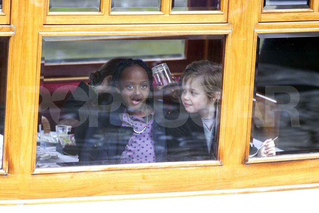 Sisters Shiloh Jolie-Pitt and Zahara Jolie-Pitt had fun together.