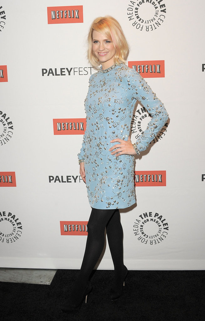 January Jones attended the Mad Men PaleyFest panel wearing blue Jenny Packham.